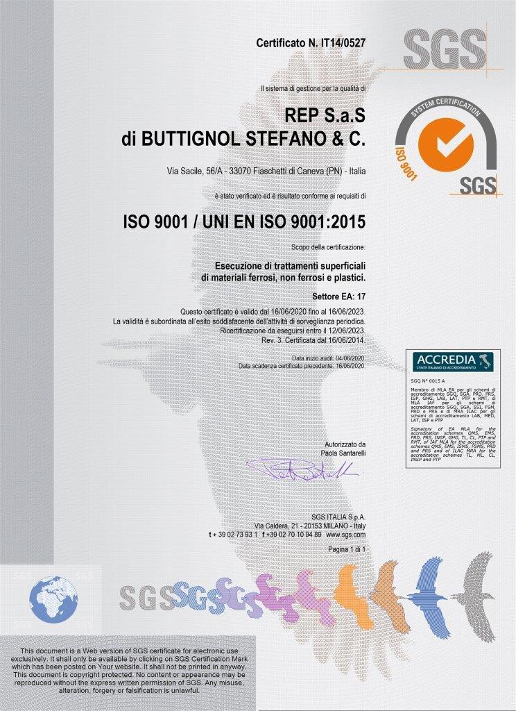 CERTIFICATO 9001